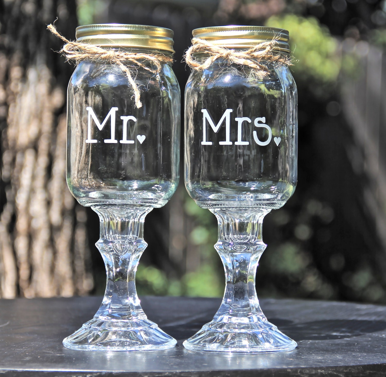 mr mrs wine glass wedding wine glasses 2 Redneck Hillbilly Wine Glasses Mr and Mrs Redneck Wine glass set Wedding