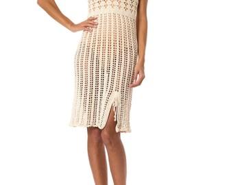1970s Vintage Sweet Off-White Crochet Dress  Size: XS