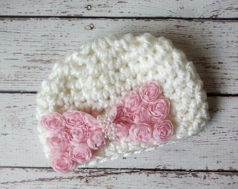 Newborn baby girl crochet hat, white with pink flower bow, Spring, Baby Fashion, photo prop