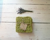 Large Olive Green Crochet Dishcloths / Washcloths / Crochet Dish Cloths / 100% Cotton
