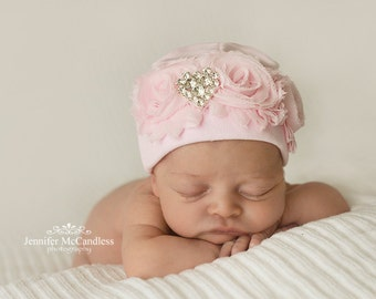 Pink Infant Baby Girl Beanie Hat with Chiffon and Rhinestone Heart