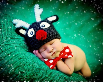 Reindeer Hat Newborn,Christmas Hat,Photo prop, Baby Boy or Girl - Dark Brown,Red,White Made to order
