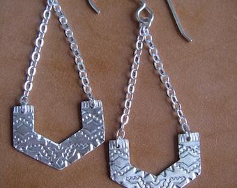 Sterling Silver Stamped Geometric Dangle Earring