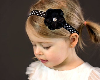 Black and White Polka Dot Hydrangea Headband