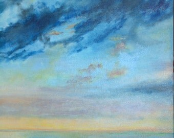 Blue and Peach Sky with Water Vertical 2- Fine Art Print