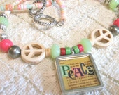ON SALE! Word Play Peace Necklace