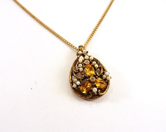 Vintage Faux Pearl and Yellow Crystal Teardrop Necklace