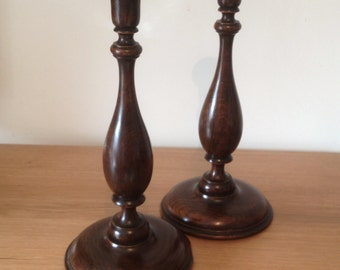 Pair of early 20th century turned oak baluster candlesticks