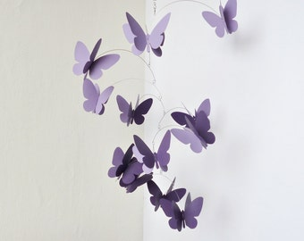 Lavender hanging mobile, 3D butterflies mobile, Kinetic home decor, Hand painted