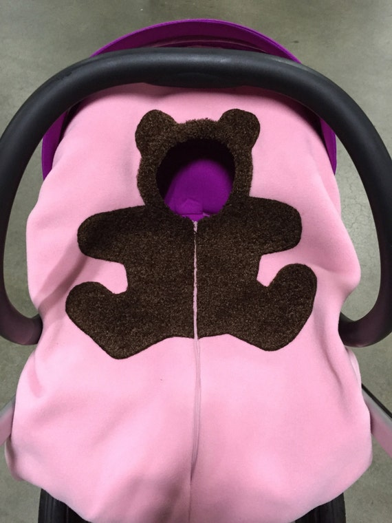 PINK Bear Baby Car Seat Cover... on light pink ... Infant Car Seat Cover, Baby Carseat Cover
