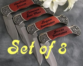 HUGE SALE 8  Engraved Pocket Knives / Groomsman Gift/Wedding Party Gift/Personalized /Laser Engraved Rosewood Knife