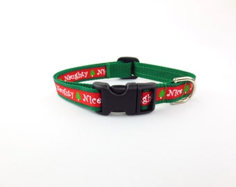 Small Mini Naughty or Nice Dog Collar