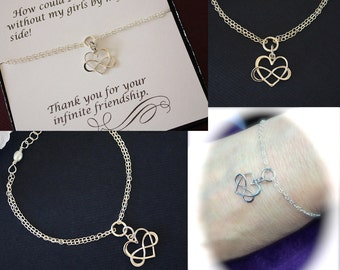 5 Bridesmaid Infinity Bracelets, Infinity Heart Jewelry, Best friend Gift, Thank You Card, Infinity Heart Charm, Sterling Silver, Sister,