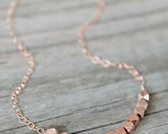 14k rose gold filled necklace with rose gold vermeil nugget beads, modern minimal jewelry, pink gold necklace, faceted bead necklace