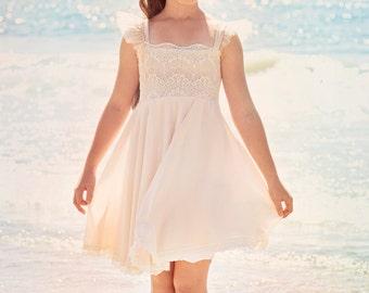 Blush Pink Lace and chiffon dress flower girl Dress, Bohemian Wedding