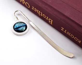 Unusual Bookmark, Book Lover Gift Idea, Unique Reading Accessory, Cool Teacher Gifts, Silver Book Mark, Dichroic Glass, One of a Kind