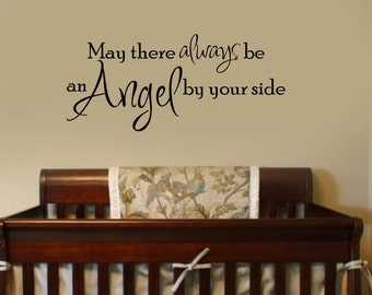 Nursery Quote Wall Decal -  Angels Danced the Day You Were Born - Nursery Vinyl Wall Lettering Decals kids Room