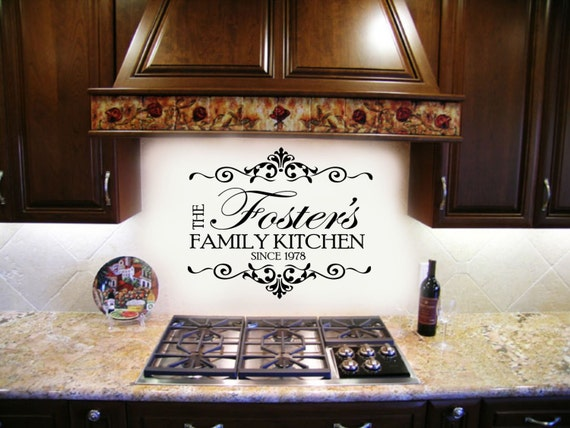 Family Name Kitchen Decal - with Established Date Home Decor Vinyl Wall Lettering Decals Large size options Elegant Scroll