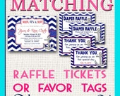 CUSTOM MATCHING Diaper Raffle Tickets, Favor Tags, Thank you Cards, Water Bottle Labels - Add-On to any design in shop