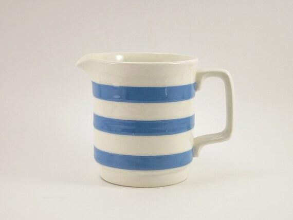 Vintage Carrigaline Pottery Striped Cream Pitcher Creamer