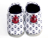 Nautical Baby Boy Shoes with Anchors, 0-6 mos. Baby Booties, Baby Gift