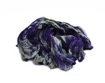 blue silk scarf - Blue Mountain  -  grey, blue silk ruffled scarf.