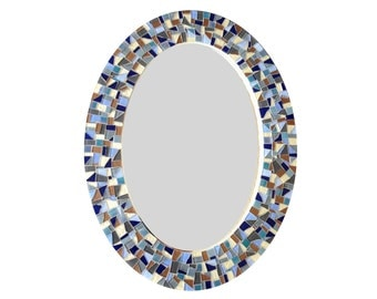 Oval Wall Mirror, Blue Gray Brown Mosaic