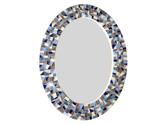 Oval Wall Mirror Blue Gray Brown Mosaic