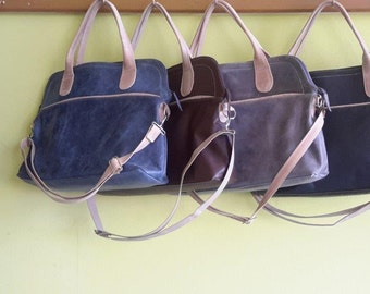 Gray leather bag, leather bag, bag ,leather purse, with cream color combination,market bag,laptop bag.