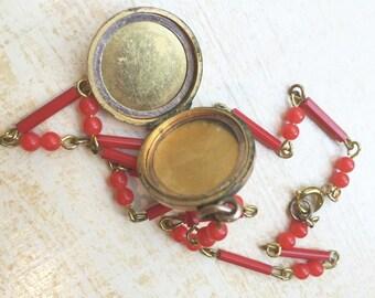 C 1880-1890's Etched Antique Locket Victorian Gold Filled Locket Etched Photo Locket Victorian FOB- Red Beaded Vintage Necklace Assemblage