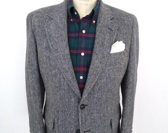 Harris Tweed Sport Jacket / vintage blue-gray herringbone wool suit coat / men's medium