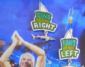 parrothead jimmy buffett margaritaville tropical beach fins shark charm earrings