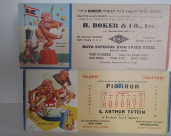 Two Vintage Lawson Wood Monkey Advertising Ink Blotter and Calendar Blotter  from  March 1938