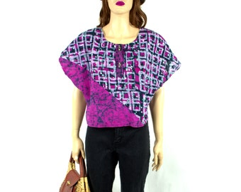 Vintage 80's Blouse Medium 70's Blouse Hippie Shirt Boho Blouse 80's shirt Minimalist Blouse Top Hippie Shirt Boxy Shirt Cropped Blouse G1