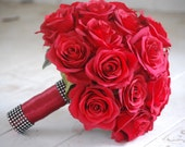 Silk bridal bouquet, red roses, matching boutonniere