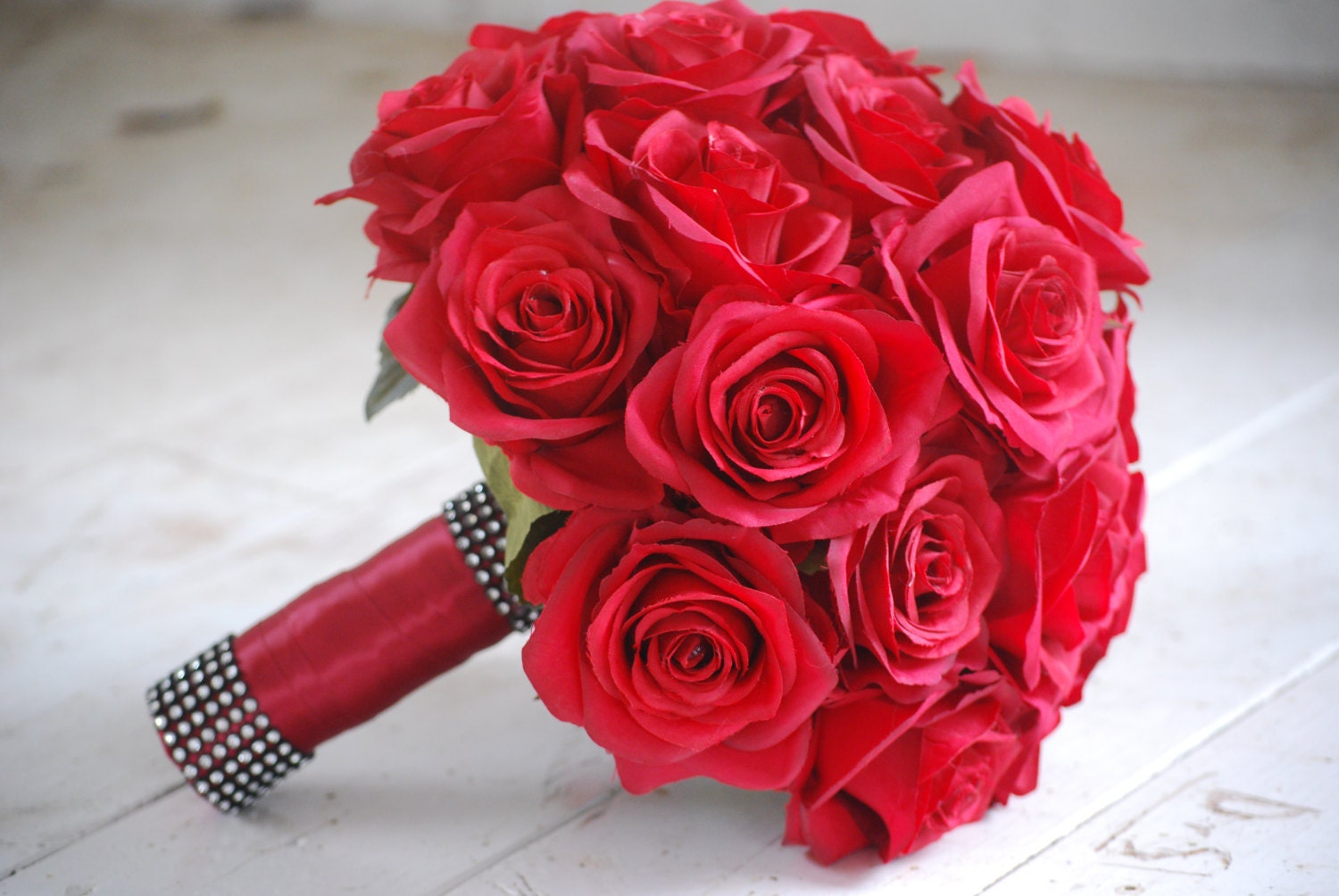 Silk bridal bouquet red roses matching boutonniere