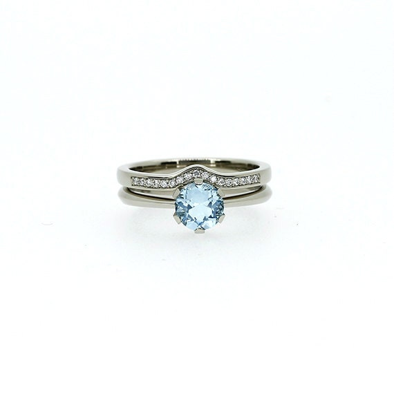 Platinum Engagement Ring Set Aquamarine Ring Engagement