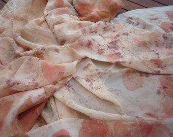 Unique eco print silk scarf in beige with floral pattern. All natural, organic materials. Large silk wrap.
