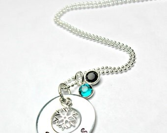 School Pride Jewelry Graduation Gift Custom Sterling Silver Hand Stamped College Pride Necklace