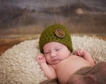Newborn Baby Boy Hat Newborn Baby Girl Hat Newborn Baby Hat Newborn Hat Olive Green Baby Hat Wood Button Beanie Newborn Photo Prop