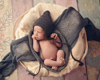 Newborn Baby Hat Newborn Baby Girl Hat Newborn Baby Boy Hat Pixie Baby Hat Charcoal Gray Baby Hat Pixie Elf Photo Prop Photography Prop