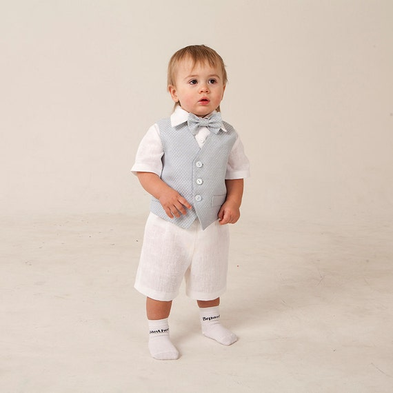 baby boy linen suit ring bearer outfit baptism natural clothes. Black Bedroom Furniture Sets. Home Design Ideas