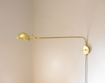 180 Degree Swivel Lamp - Articulating Swing Arm Lamp - Parabolic Shade Mid Century Style Lamp - Industrial Brass Wall Lamp