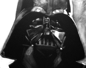 Darth Vader, Black & White, Portrait, Art, Original Painting, Star Wars