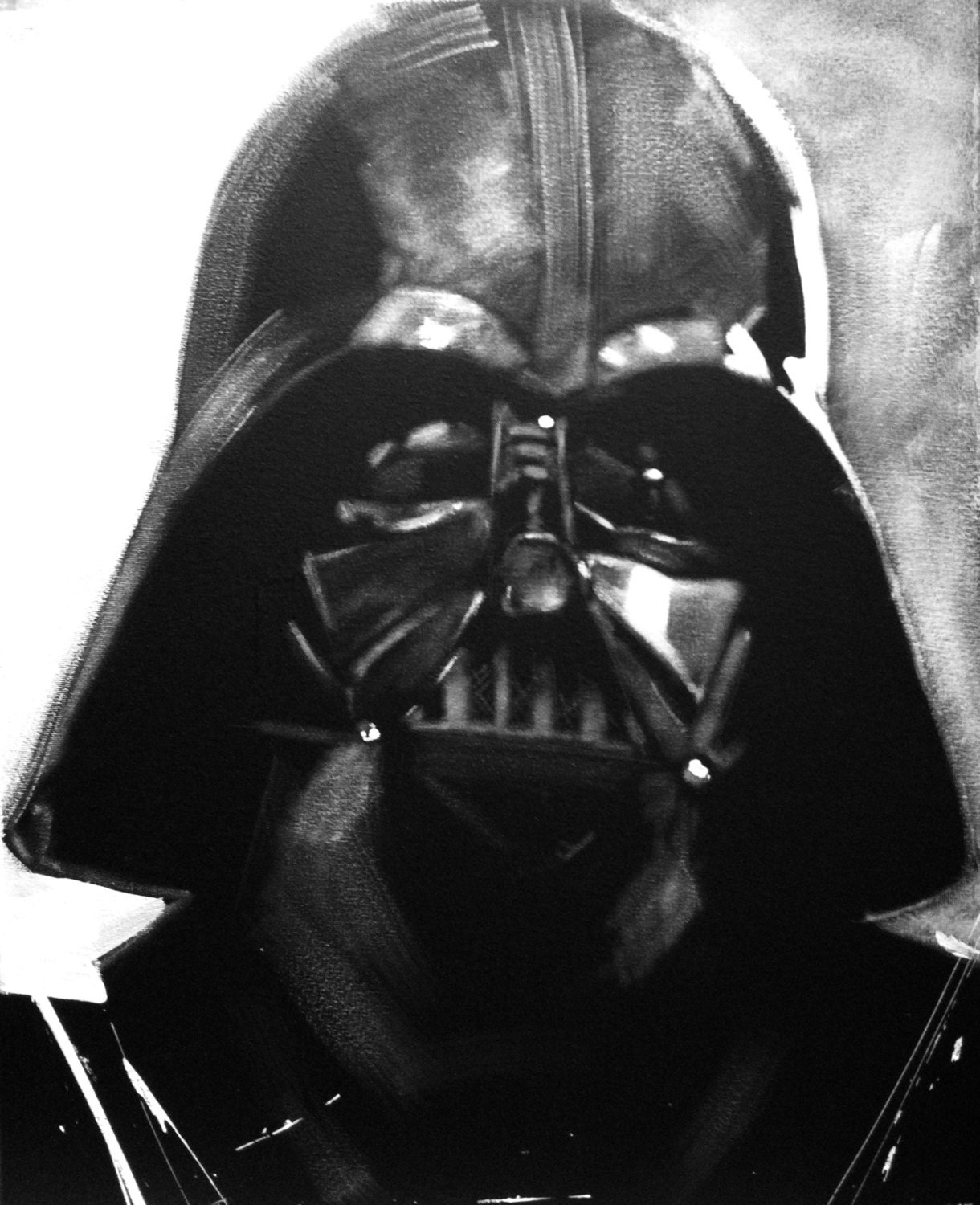 Darth vader black white portrait art original painting for Darth vader black and white