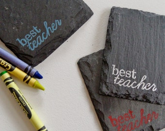 1 READY TO SHIP Best Teacher Slate Coaster in Red Brink Ink -  for a Teacher, Aide, Desk, Coworker