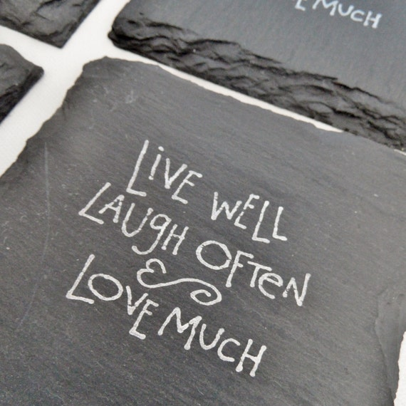 live well laugh often love much coasters set by scatteredtreasures. Black Bedroom Furniture Sets. Home Design Ideas