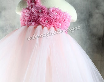Flower girl dress Pink tutu dress Wedding dress newborn 1T - 8T