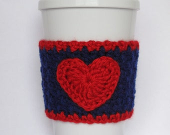 Crochet Dark Blue and Red Heart Cozy Boston Red Sox