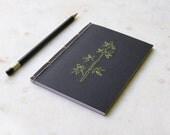 Bamboo Branch. Embroidered A6 Notebook . Black Nature Jotter. Olive Green Bamboo. Garden Mini Journal. Pocket Zen Notebook. Men's Black Book